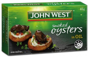 John West|SMOKED OYSTERS IN VEGETABLE OIL 85GM